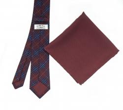 """Набор """"Бордовая клетка №2"""" с галстуком из шерсти и нагрудным платком"""