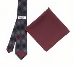 """Набор """"Бордовая клетка №1"""" с галстуком из шерсти и нагрудным платком"""