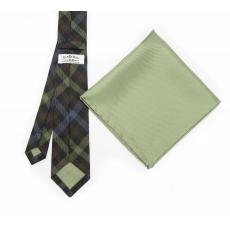 """Набор """"Зеленая клетка №1"""" с галстуком из шерсти и нагрудным платком"""