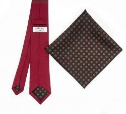 """Набор """"Красный №3"""" с галстуком из шерсти и нагрудным платком"""