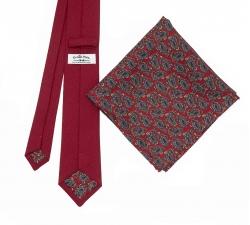 """Набор """"Красный №1"""" с галстуком из шерсти и нагрудным платком"""