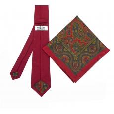 """Набор """"Красный №2"""" с галстуком из шерсти и нагрудным платком"""