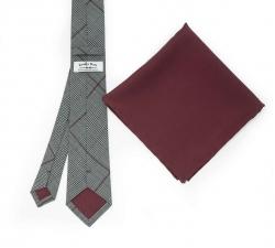 """Набор """"Серая клетка"""" с галстуком из шерсти и нагрудным платком"""