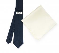 """Набор """"Синяя гусиная лапка №3"""" с галстуком из шерсти и нагрудным платком"""