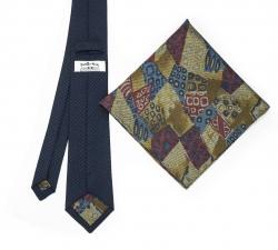 """Набор """"Синяя гусиная лапка №1"""" с галстуком из шерсти и нагрудным платком"""