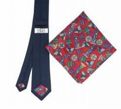 """Набор """"Синяя гусиная лапка №2"""" с галстуком из шерсти и нагрудным платком"""