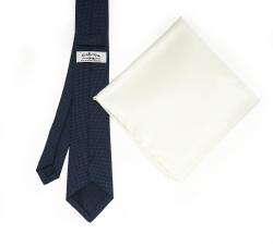 """Набор """"Синий в крапинку №3"""" с галстуком из шерсти и нагрудным платком"""