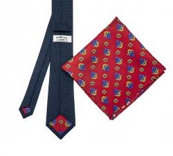 """Набор """"Синий в крапинку №2"""" с галстуком из шерсти и нагрудным платком"""