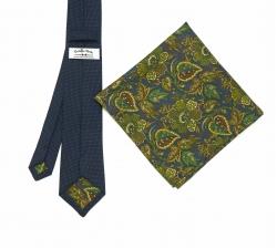 """Набор """"Синий в крапинку №1"""" с галстуком из шерсти и нагрудным платком"""