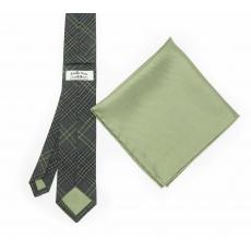 """Набор """"Зеленая клетка №2"""" с галстуком из шерсти и нагрудным платком"""