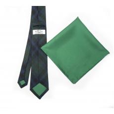 """Набор """"Зеленая клетка №3"""" с галстуком из шерсти и нагрудным платком"""