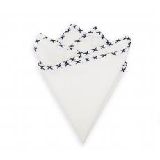 Платок-паше из белого хлопка (Dark Blue Stitched)