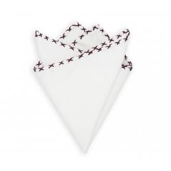 Платок-паше из белого хлопка (Dark Red Stitched)