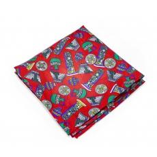 """Платок-паше """"Красные пирамиды"""", шелковый нагрудный платок"""