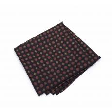 """Платок-паше """"Красная ромашка"""", черный шелковый нагрудный платок с классическим узором"""