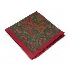 Платок-паше красный с узором пейсли, шелковый нагрудный платок с окантовкой