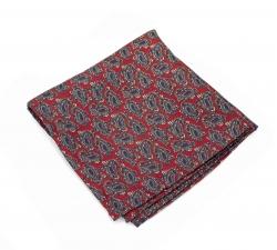 Платок-паше красный с узором пейсли, шелковый нагрудный платок