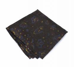 """Платок-паше """"Позитивный коричневый"""", шелковый нагрудный платок с узором пейсли"""