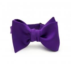 Фиолетовая галстук-бабочка, самовяз из натурального шелка