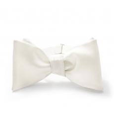 Белая галстук-бабочка, самовяз из натурального шелка