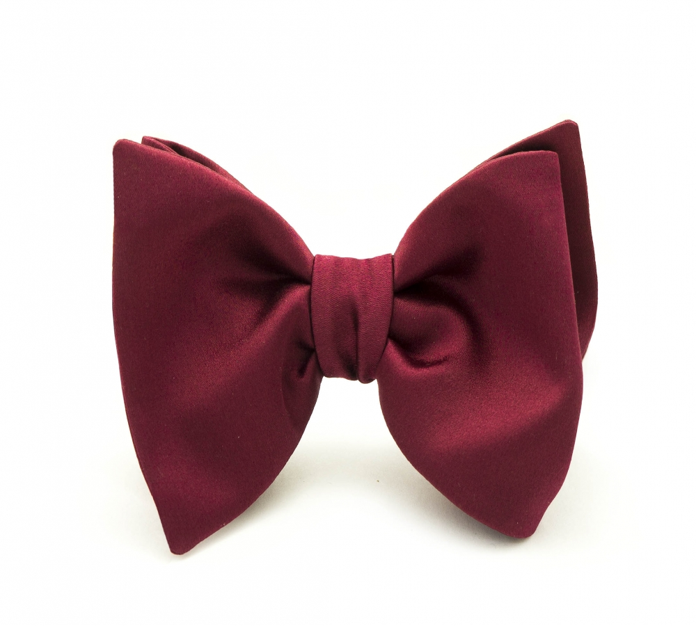 Бордовая галстук-бабочка №4, самовяз из натурального шелка формы Big Butterfly