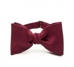 Бордовая галстук-бабочка №3, самовяз из натурального шелка