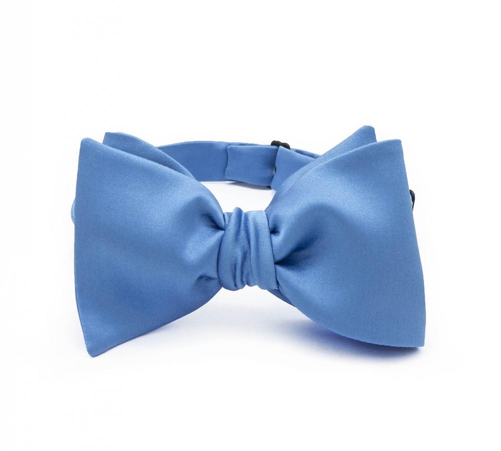Голубая галстук-бабочка №3, классический самовяз из натурального шелка