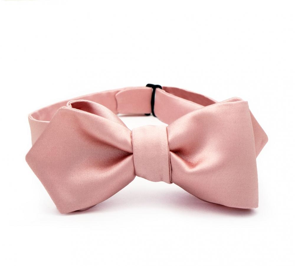 Розовая галстук-бабочка, самовяз из натурального шелка