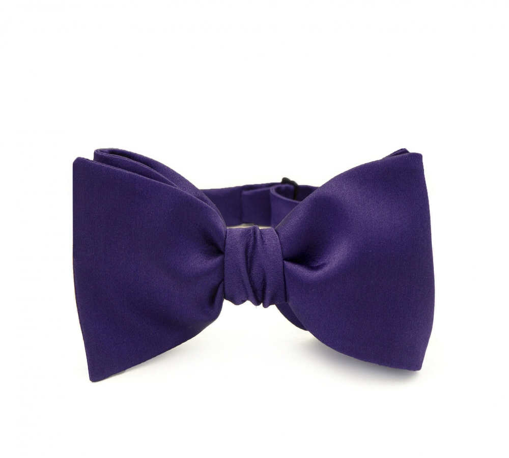 Темно-фиолетовая галстук-бабочка, самовяз из натурального шелка
