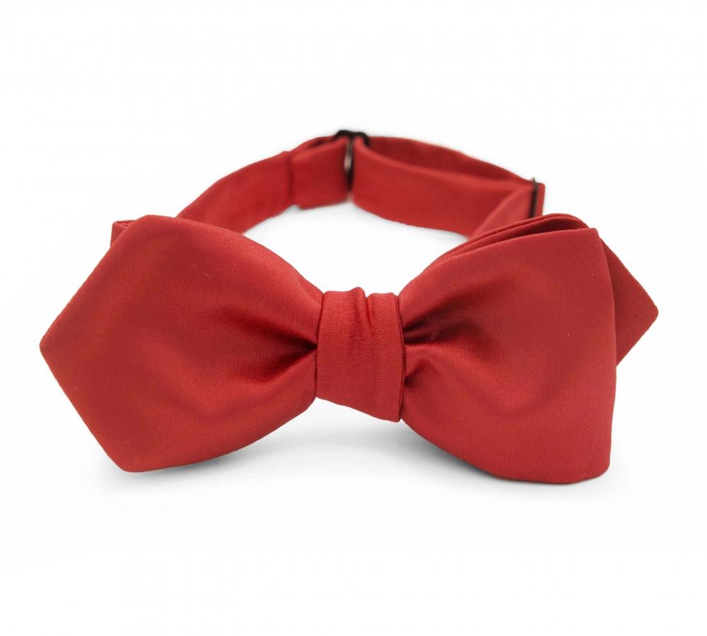 Красная галстук-бабочка №4, самовяз из натурального шелка