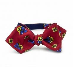 "Синяя галстук-бабочка ""Мазарини"", самовяз из натурального шелка"