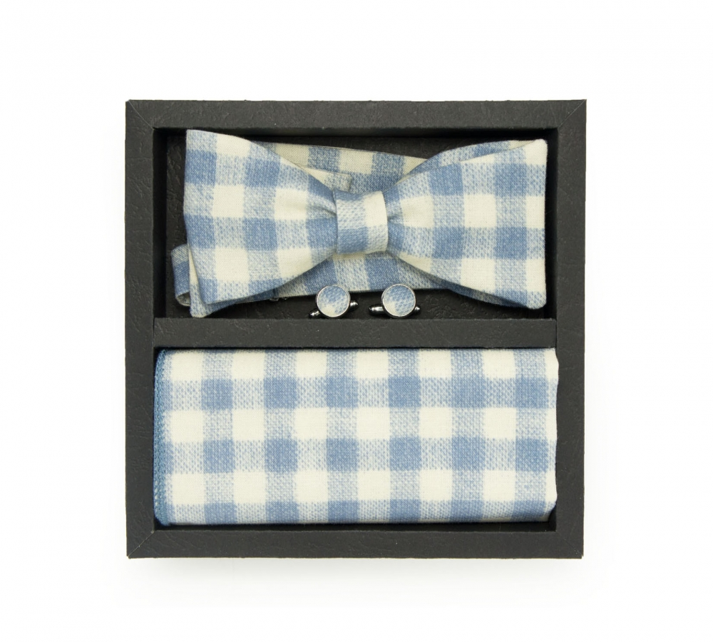 """Набор """"Голубая клетка"""" (галстук-бабочка, платок-паше, запонки)"""