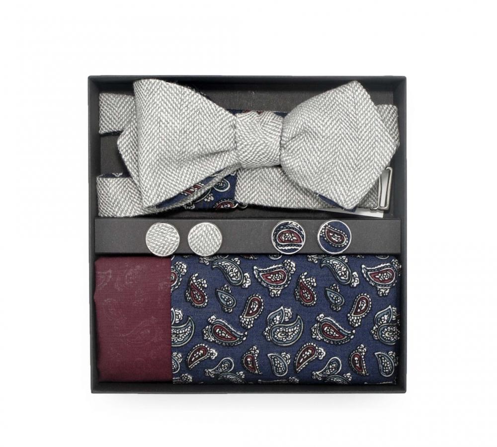 """Набор """"Belle"""" (галстук-бабочка, платки-паше, запонки) из серой шерсти и хлопка с узором пейсли"""