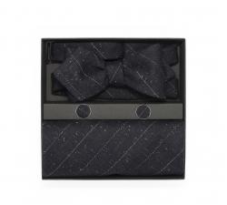"""Набор """"Блюз"""" (галстук-бабочка, платки-паше, запонки) из темно-серой шерсти в полоску"""