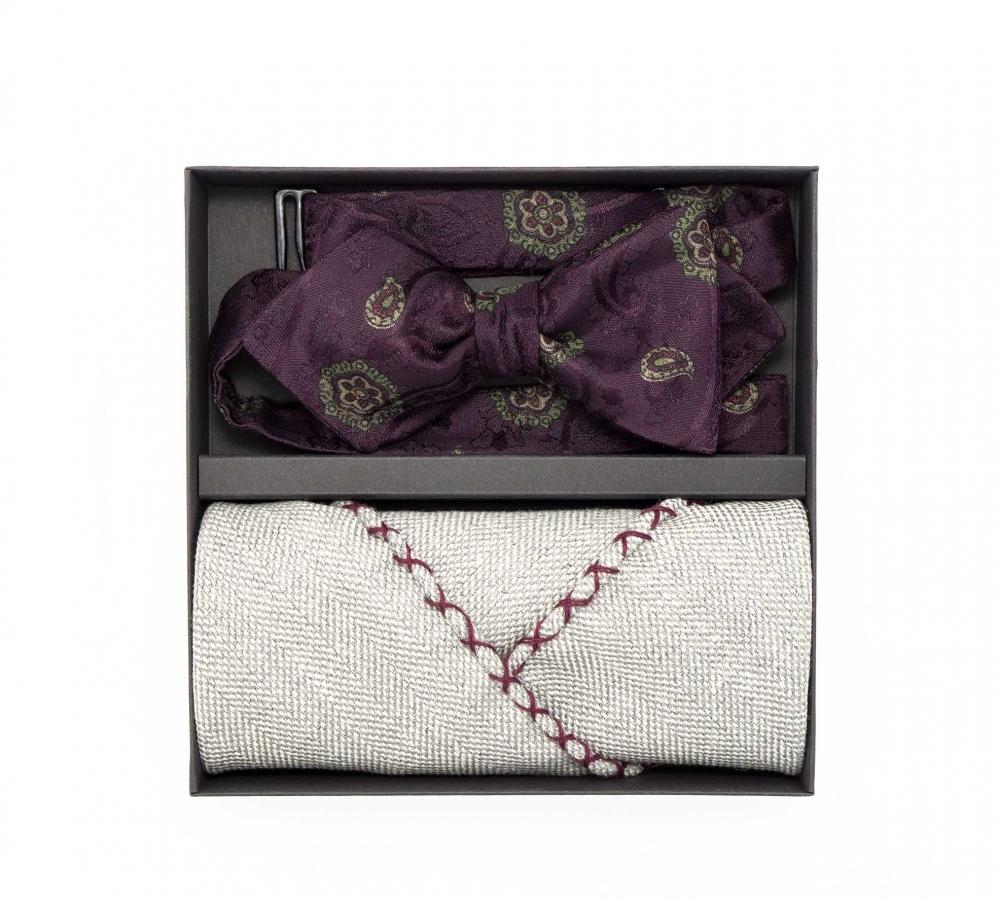 """Набор """"Бордовый пейсли"""" с галстук-бабочкой из шелка, платком-паше из шерсти и запонки"""