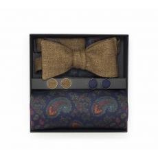 """Набор """"Прогулка по Дюнам"""" (галстук-бабочка, платки-паше, запонки) из светлой коричневой шерсти и натурального шелка с узором пейсли"""