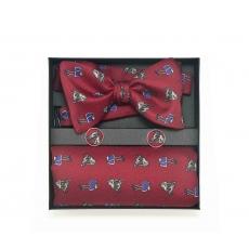 """Набор """"Лошадки"""" с галстук-бабочкой из шелка, платком-паше и запонками"""