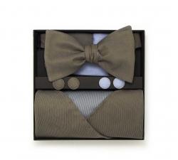 "Набор ""Нега"" (коричневая алстук-бабочка, платок-паше, запонки)"