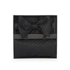 "Набор ""Нуар"" (галстук-бабочка, платок-паше, запонки) из хлопка"