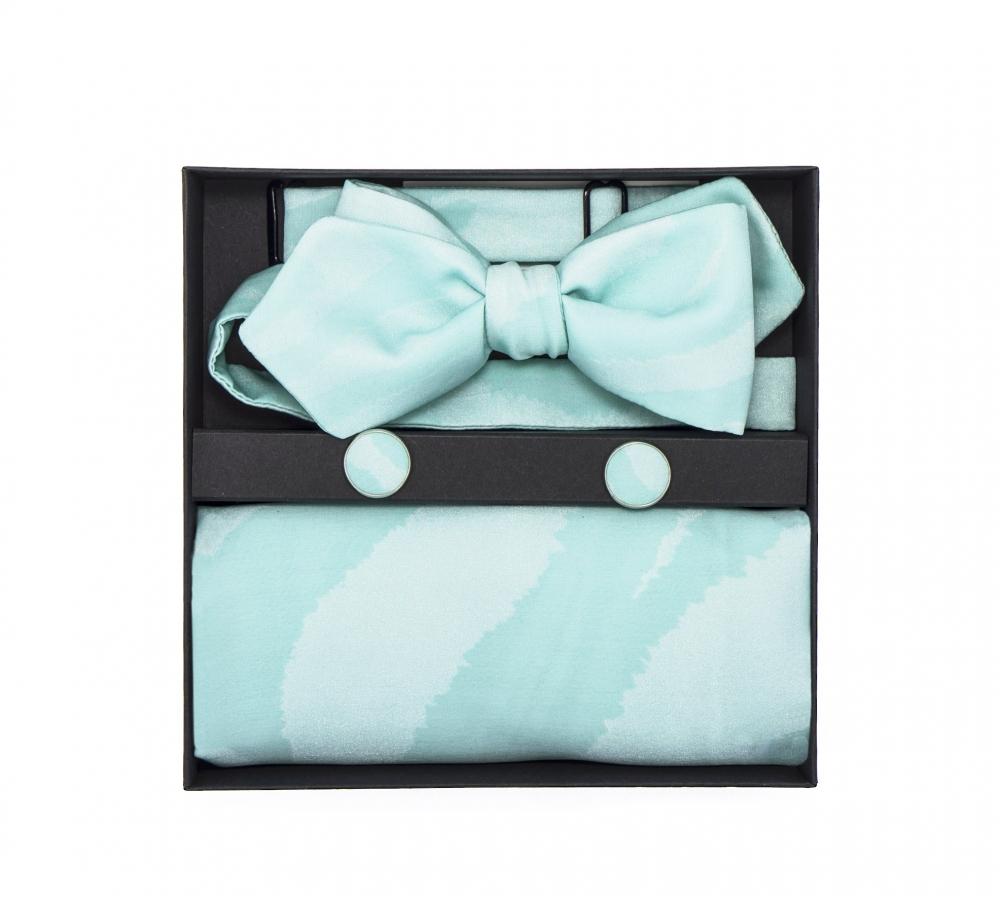"""Набор """"Тиффани"""" с галстук-бабочкой из шелка, платком-паше и запонки"""