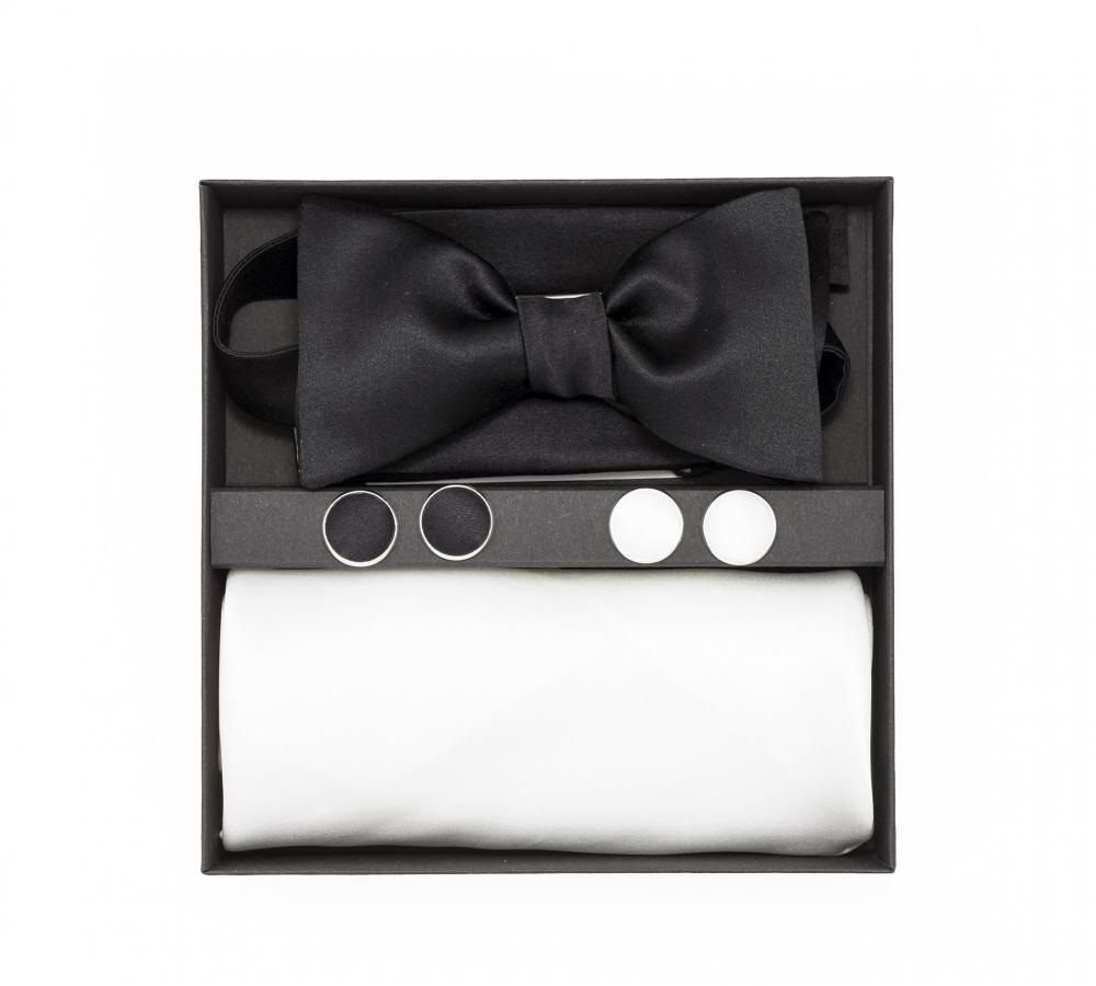 """Подарочный набор """"Инь-Ян"""" (галстук-бабочка, платок-паше, запонки)"""