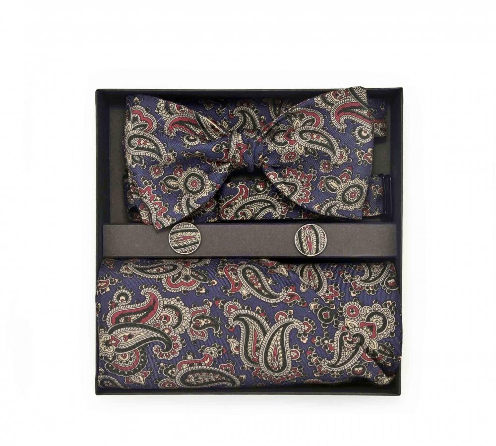 """Набор """"Людвиг"""" с галстук-бабочкой из шелка, платком-паше и запонки"""