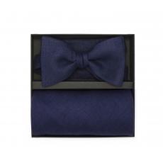 Подарочный набор синие галстук-бабочка и нагрудный платок изо льна