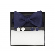 Подарочный набор синяя галстук-бабочка и нагрудный белый платок изо льна