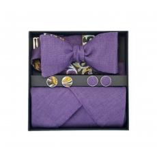 """Набор """"Фиолетовый Лен"""" (галстук-бабочка, платки-паше, запонки) с узором пейсли"""