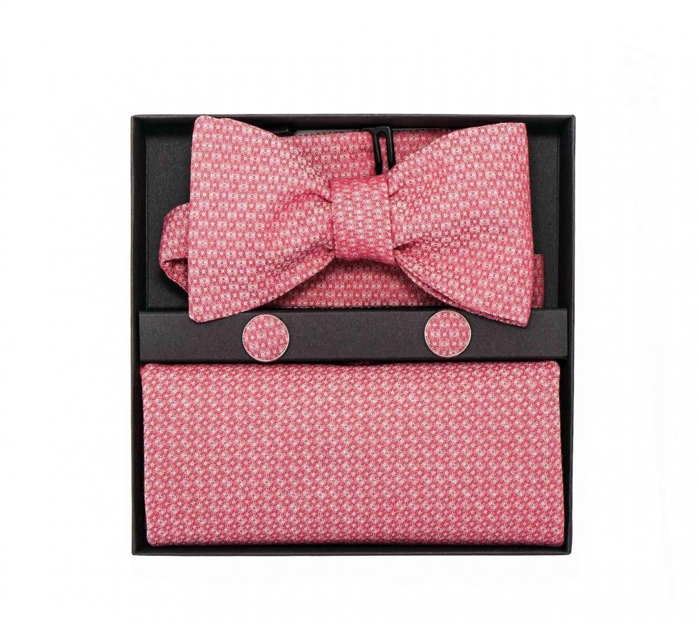 """Набор """"Кораллы"""" (галстук-бабочка, платок-паше, запонки)"""