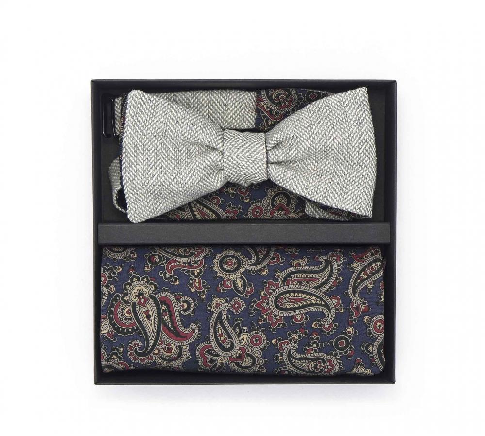 """Набор """"Belle-2"""" (галстук-бабочка, платки-паше, запонки) из серой шерсти и натурального шелка с узором пейсли"""