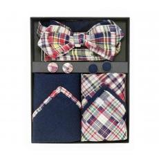 """Подарочный набор """"Лоскуты"""" (галстук-бабочка с нагрудным платком и запонками)"""