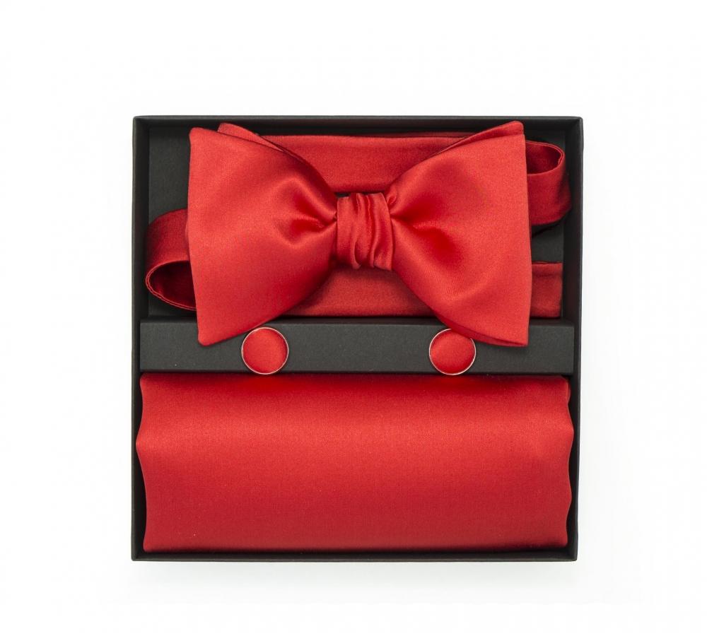 """Подарочный набор """"Ришелье"""" (галстук-бабочка, платок-паше, запонки)"""