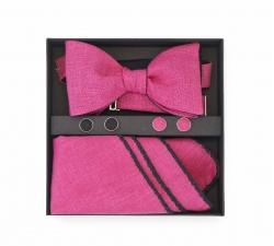 """Набор """"Розовая пантера"""" (галстук-бабочка, платок-паше, запонки)"""